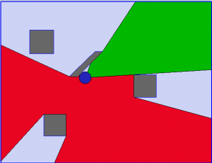 Top View of First Person Shooter Red Zone Diagram