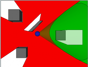 Top View of First Person Shooter Red Zone Diagram with Verticality